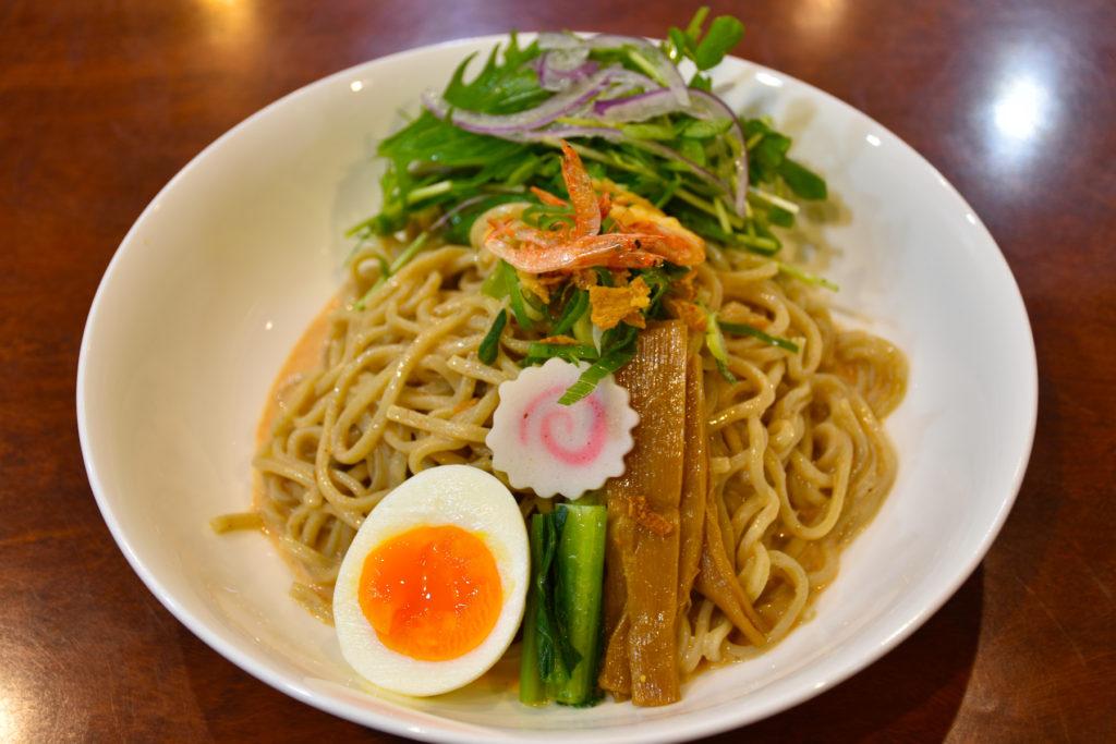 JR茨木のラーメン・つけ麺「自家製麺・らーめん屋一心」桜えび 大盛 冷やしまぜ麺